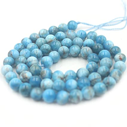 Apatite Round Beads 7-8mm Teal Blue 45 Pcs Gemstones Jewellery Making Crafts