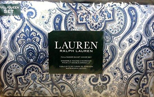 Lauren Ralph Lauren 3pc Full Queen Duvet Cover Set Damask Paisley Medallion Pattern in Blue, Navy, Gray on White (Set Ralph Duvet Lauren)