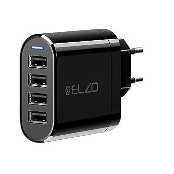 ELZO Cargador USB de Pared con 4 Puertos, 32W, 6,4A con Corriente Máxima de 2,4A, Universal Cargador Móvil USB iSmart 2.0, Negro