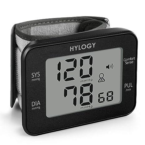 Tensiómetro de Muñeca ,HYLOGY Monitor de Presión Digital Portátil Ultraplano con Anuncio de Voz, Gran Pantalla LCD con Memoria 2 * 90 Para 2 Usuarios, ...