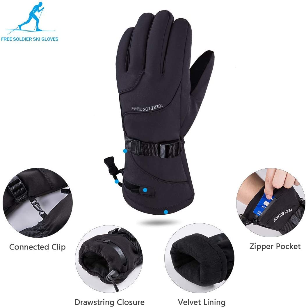 FREE SOLDIER Winter Snow Ski Gloves Waterproof Snowboarding Nylon Shell Touch Screen Gloves