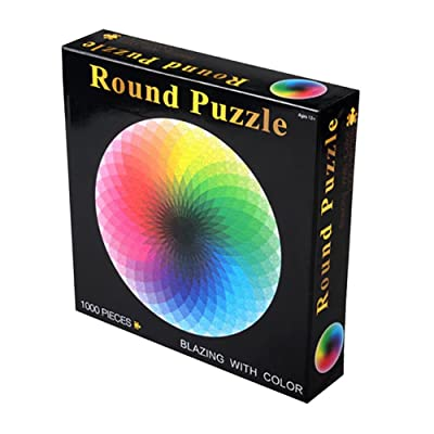 Alician 1000 pcs/Set Colorful Rainbow Round Geometrical Photo Puzzle Adult Kids DIY Educational Reduce Stress Toy Jigsaw Puzzle Paper: Toys & Games