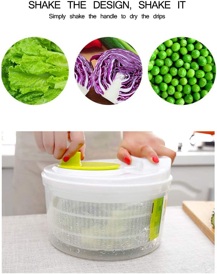 Small Salad Stirrer Detachable Vegetable Dryer Powstro Salad Spinner Fruit Cleaning Basket is Suitable for Family Kitchen and Restaurant
