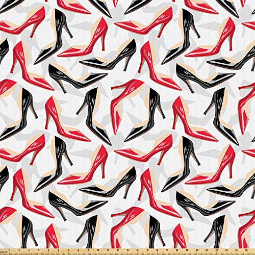 Ambesonne Red and Black Fabric by The Yard, Women Fashion Pattern with High Heel Stiletto Shoes Ladies Footwear, Microfiber Fabric for Arts and Crafts Textiles & Decor, 1 Yard, Scarlet Black Beige