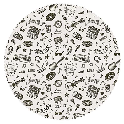 - iPrint Decorative Round Tablecloth [ Doodle,Hand Drawn Music Collection of Item Bearded Musician Guitar Recorder Mic,Olive Green White ] Home Accessories