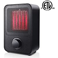 Ceramic Space Heater, Personal Portable Electric Heater with 3 Setting, Over-Heat Protection and Tip-Over Protection, 1500W PTC Heater ETL Safety for Office Table Desk Floor Office Room