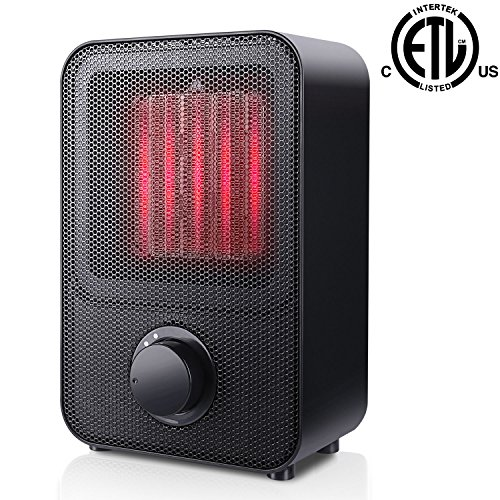 SUNPOLLO Ceramic Space Heater, Personal Portable Electric Heater with 3 Setting, Over-Heat Protection and Tip-Over Protection, 1500W PTC Heater ETL Safety for Office Table Desk Floor Office Room