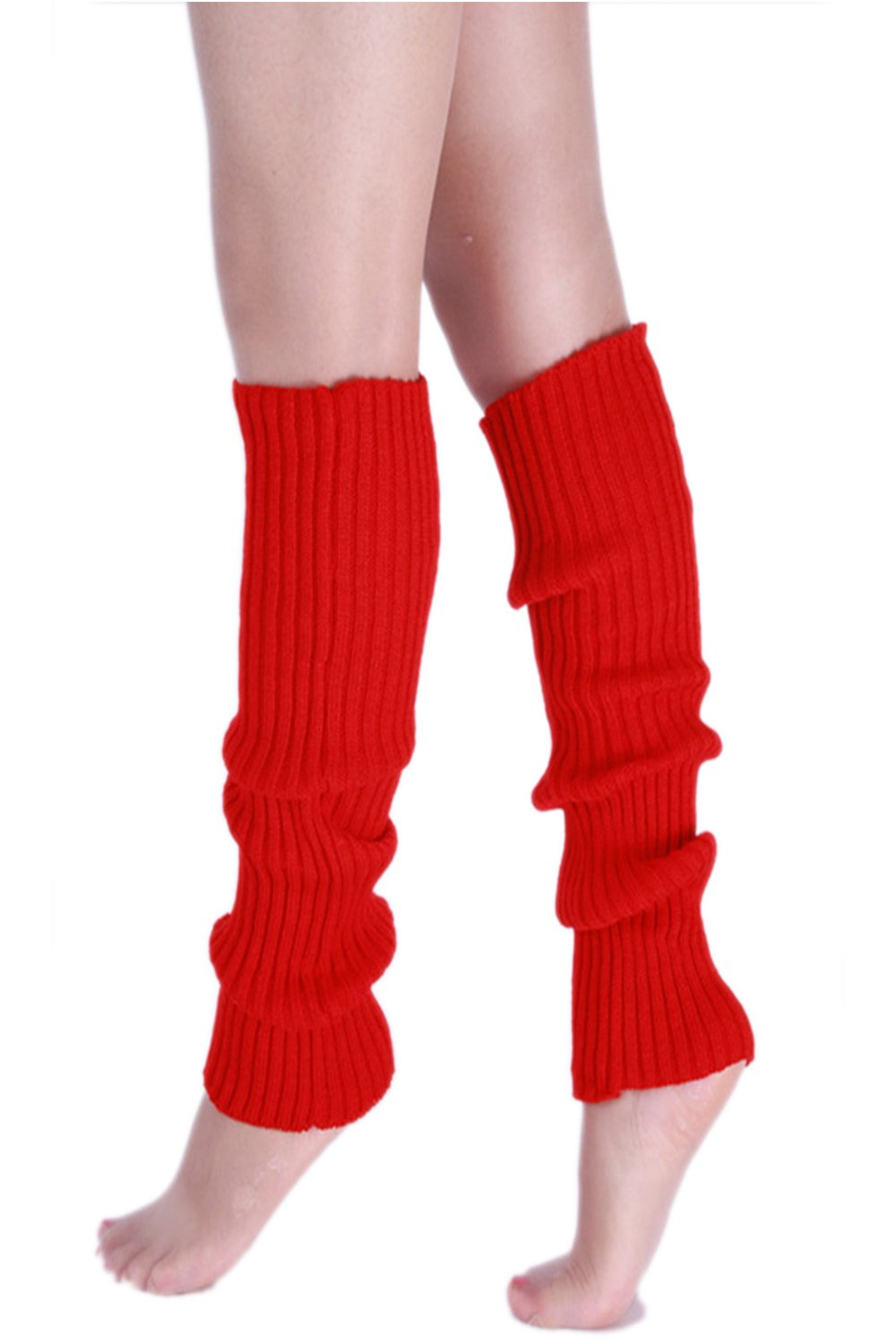 YACUN Women's Winter Cold Weather Solid Knit Long Leg Warmers White F CAOK005White_F