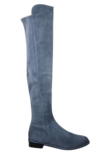 0e71cbe18f5 Stuart Weitzman Women s Allgood Denim Blue Suede Low Heel Knee Boot (US ...