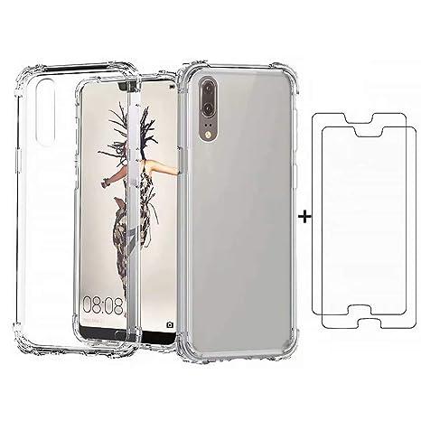 DYGG Compatible con Funda para Huawei P20 Pro, Carcasa Forro Transparente TPU Silicona Flexible Case+[2* Protector de Pantalla]