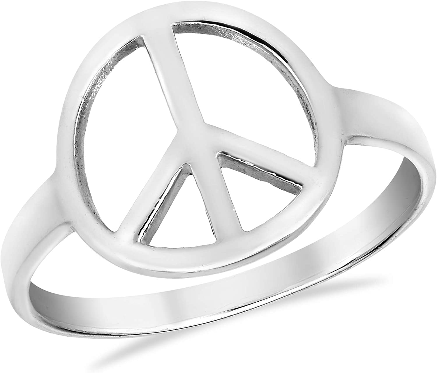 Shiny Peace Sign No War .925 Sterling Silver Ring