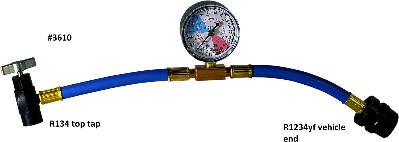 ENVIRO-SAFE 134A Tap to 1234YF Coupler Economy Gauge /& Hose #3610