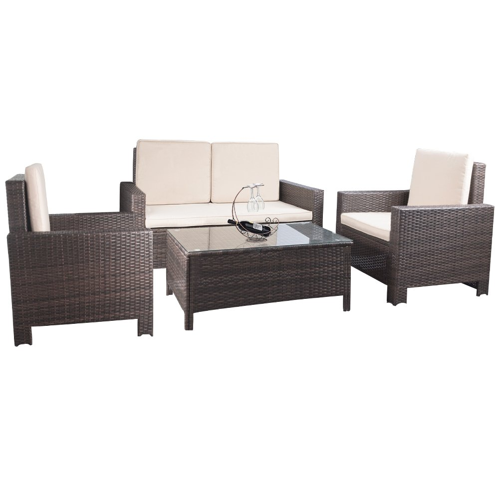 Devoko Porch Patio Furniture Set Clearance 4 Piece PE Rattan Wicker Garden Sofa Beige Cushion Chairs With Table Outdoor All Weather Deck lawn Couch (Rattan, Brown)