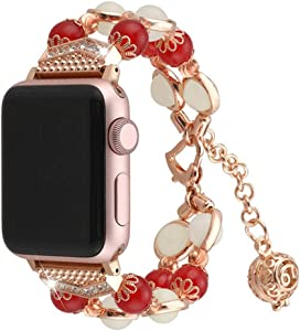 Compatible With Apple Watch 1/2/3/4/5 Series Iwatch Band Agate Luminous Beads Adjustable Jewelry 38mm 40mm 42mm 44mm Bracelet (Red, 42/44mm)