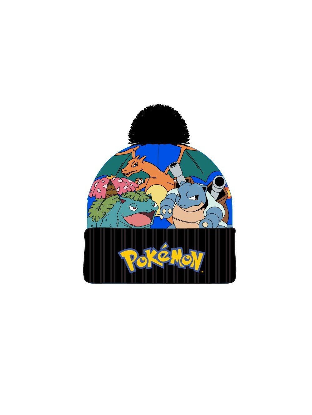 POKEMON -3D Embroid Sublimated Characters Print Pom Cuff Beanie Bioworld
