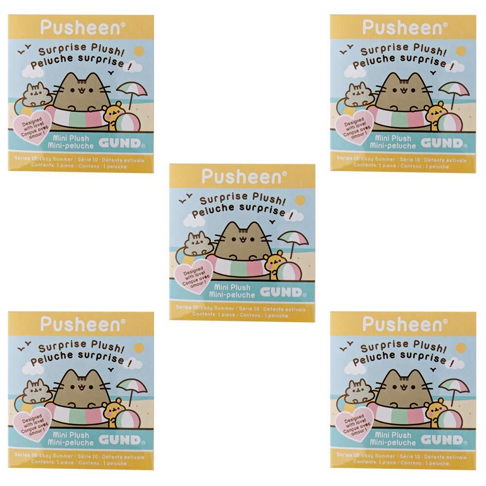 GUND Pusheen Plush Surprise Box Series #10 - Lazy Summer, 5-Pack Bundle by GUND