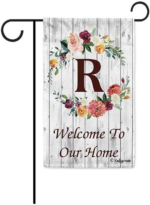 The Best Monogrammed R Fall Garden Flag