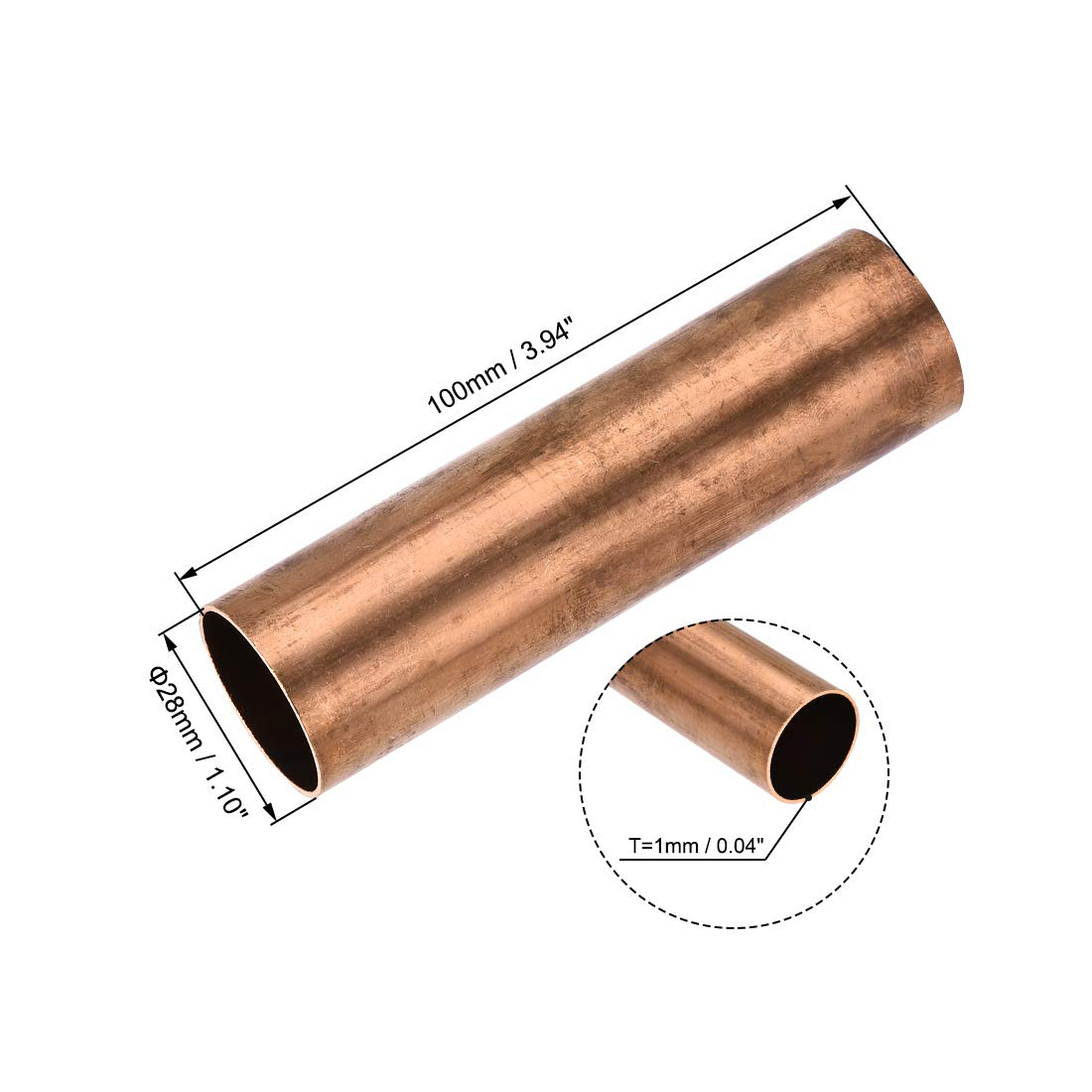 uxcell Copper Round Tube 12mm OD 1mm Wall Thickness 100mm Length Hollow Straight Pipe Tubing 3 Pcs