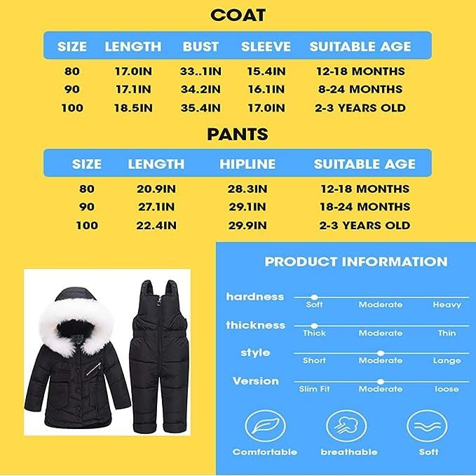 LPATTERN-unisex tuta da sci per bambino piumino bambino invernale giacca bambina snowsuit piumino leggero giacche completo da neve per bambino 2 pezzi,1-3 anni
