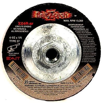 SAIT 22599 Type 27 4-Inch x 1/4-Inch x 5/8-Inch Z-Tech Z24R Zirconium Depressed Center Grinding Wheels, 25-Pack