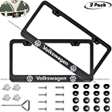 2-Pieces Newest Matte Aluminum Alloy License Plate Frame for Volkswagen VW,Applicable to US Standard car License Frame…