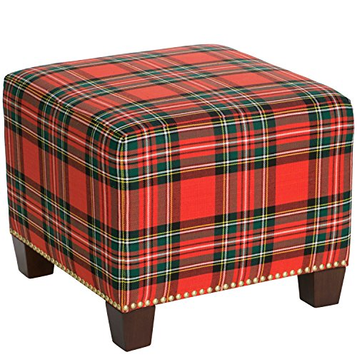 Skyline Furniture Square Nail Button Ottoman in Ancient Stewart Red