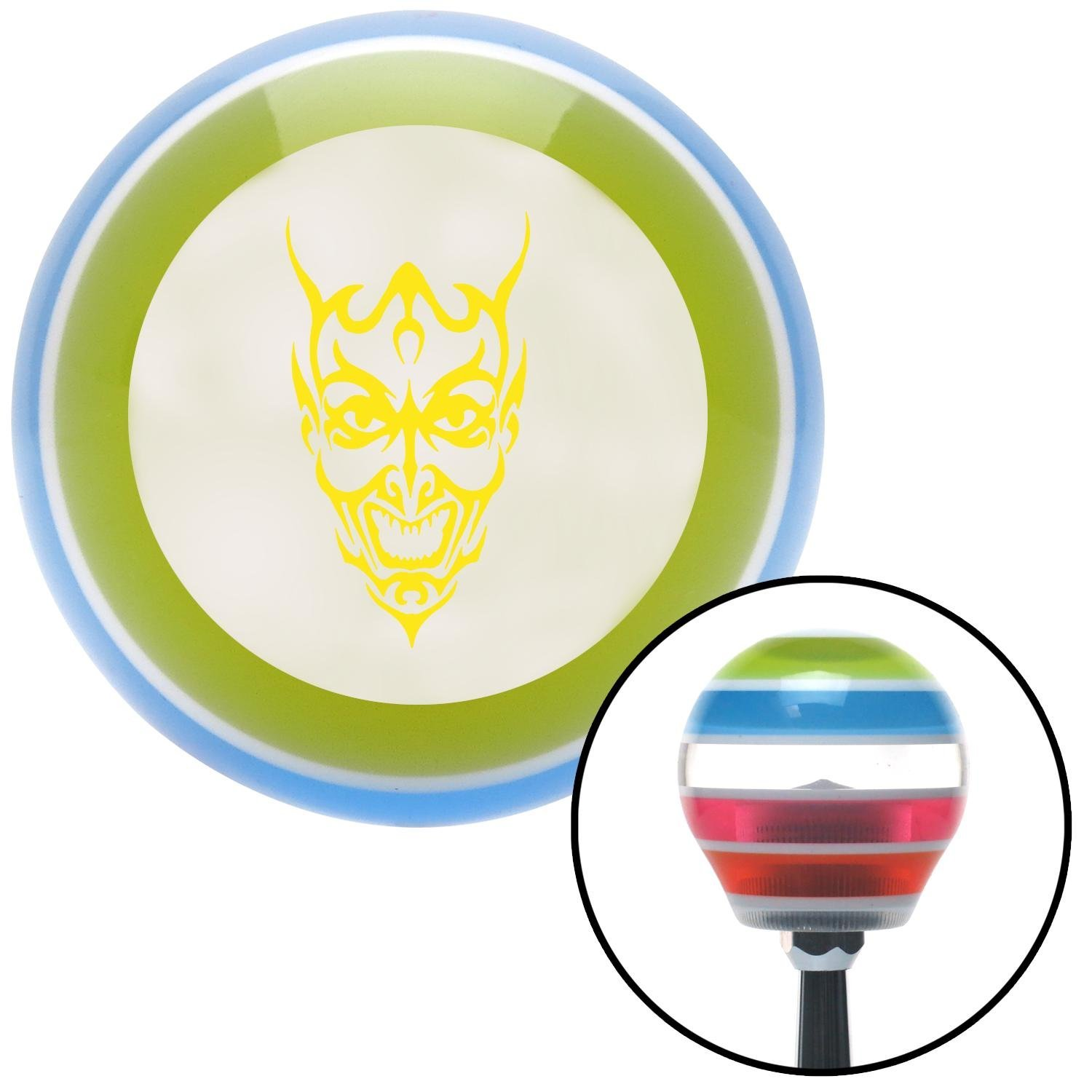 Yellow Abstract Devil Face American Shifter 135547 Stripe Shift Knob with M16 x 1.5 Insert
