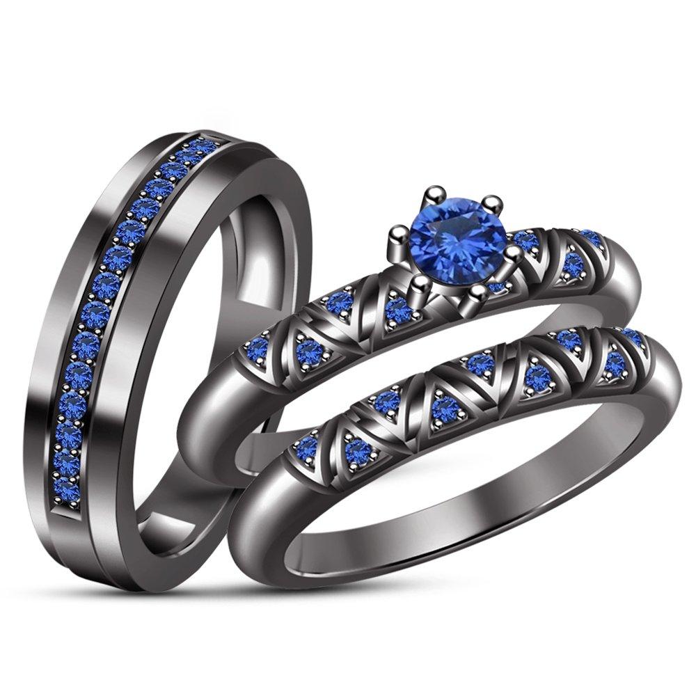 TVS-JEWELS Silver 925 Black Rhodium Plated His & Her Round Cut Gemstone Trio Wedding Ring Set (Blue Sapphire)