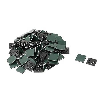 sourcingmap® Hogar cuadrados plásticos auto-adhesivo de la atadura de cables Soportes Bases de