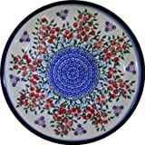 Polish Pottery Ceramika Boleslawiec 1103/282 Royal Blue Patterns Dinner Plate, 10-1/4-Inch, Red Berries and Daisies
