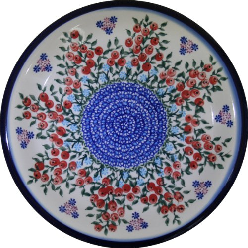 Polish Pottery Ceramika Boleslawiec 1103/282 Royal Blue Patterns Dinner Plate, 10-1/4-Inch, Red Berries and (Vine Round Serving Plate)