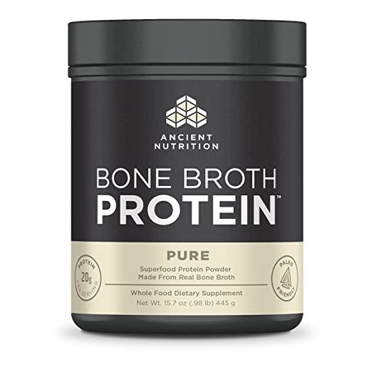 Ancient Nutrition Bone Broth Protein Powder, Pure Flavor, 20 Servings Size