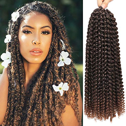 7 Pacs 18 Inch Passion Twist Hair Water Wave Braiding Hair Ombre Long Bohemian Braids for Passion Twist Crochet Hair Hot Water Setting Synthetic Natural Braid Hair (18 Inch, 1B-30)