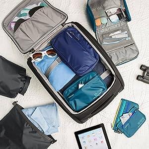 Travelon World Travel Essentials Tech Organizer, Peacock Teal, One Size