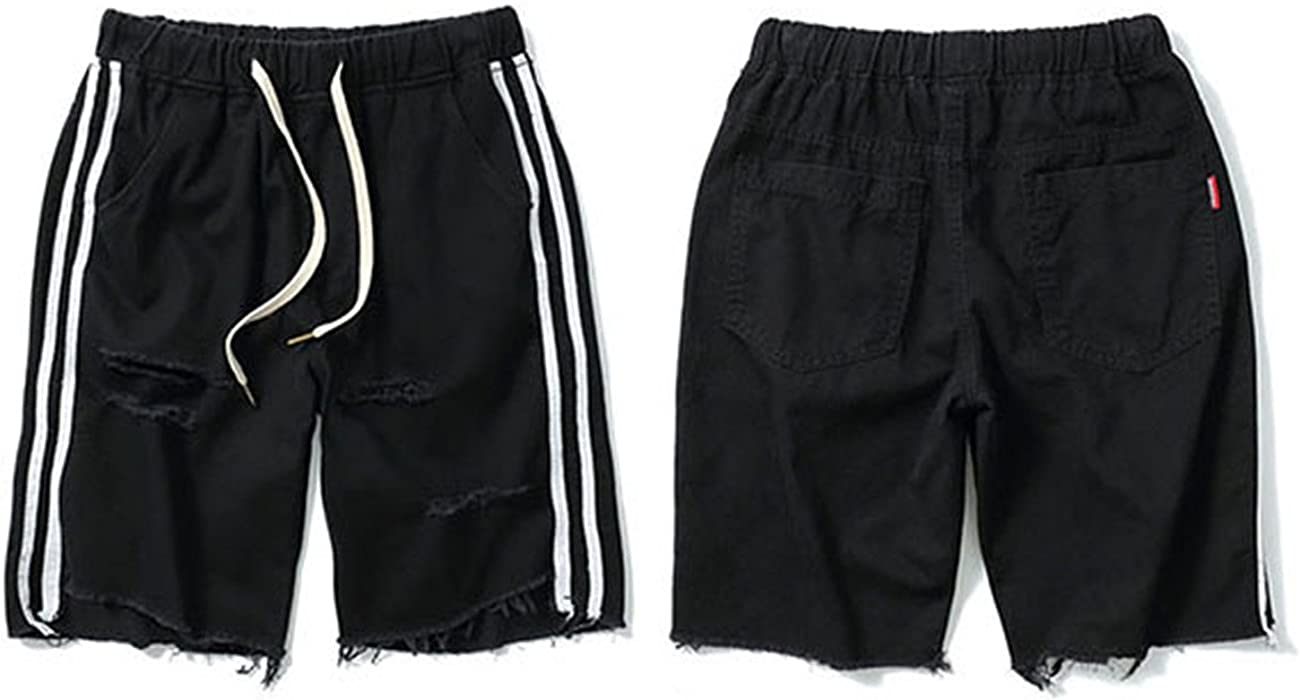 62c18ad0bce Aancy New 2018 Side Striped Shorts Washed Jeans Ripped Hole Destroyed  Distressed Denim Casual Elastic Waist