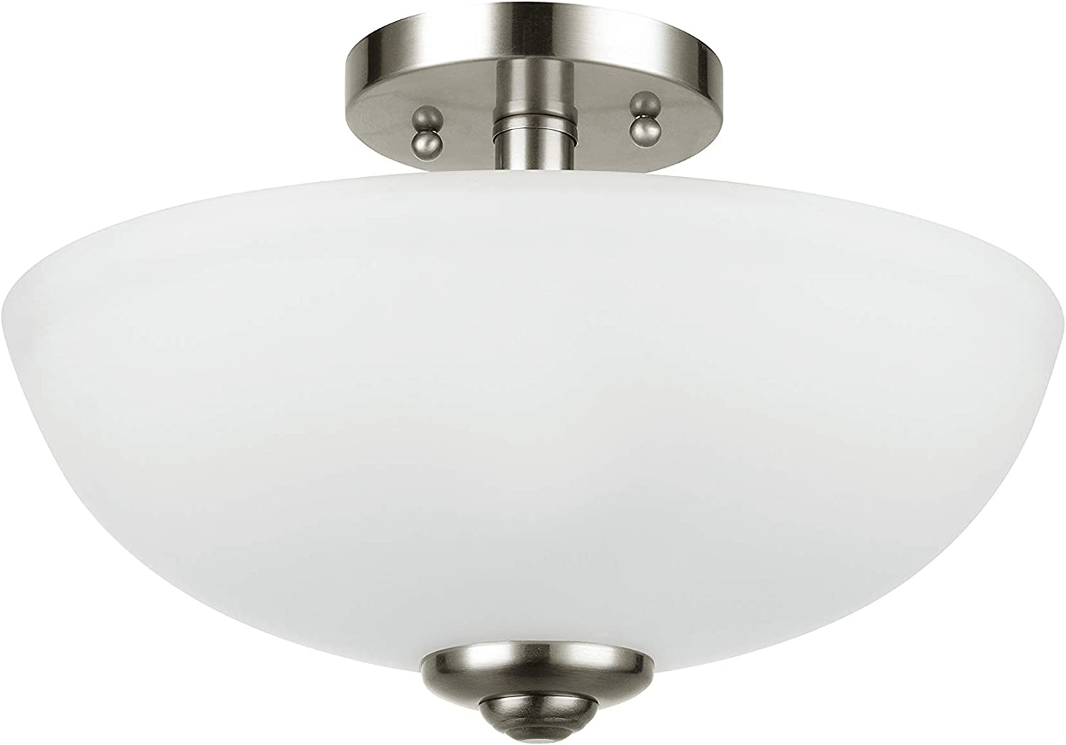 Amazon Brand - Ravenna Home 2-Light Semiflush-Mount Ceiling Light with Frosted Glass Shade, 8.3