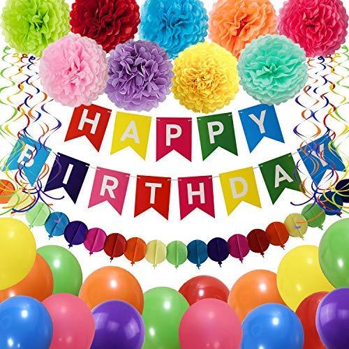 Birthday Supplies For Kids (THAWAY Birthday Decorations Party Supplies, Colorful Birthday Decorations, Happy Birthday Banner, Pom Poms Flowers, Garland, Hanging Swirl, Balloons for Kids Birthday)
