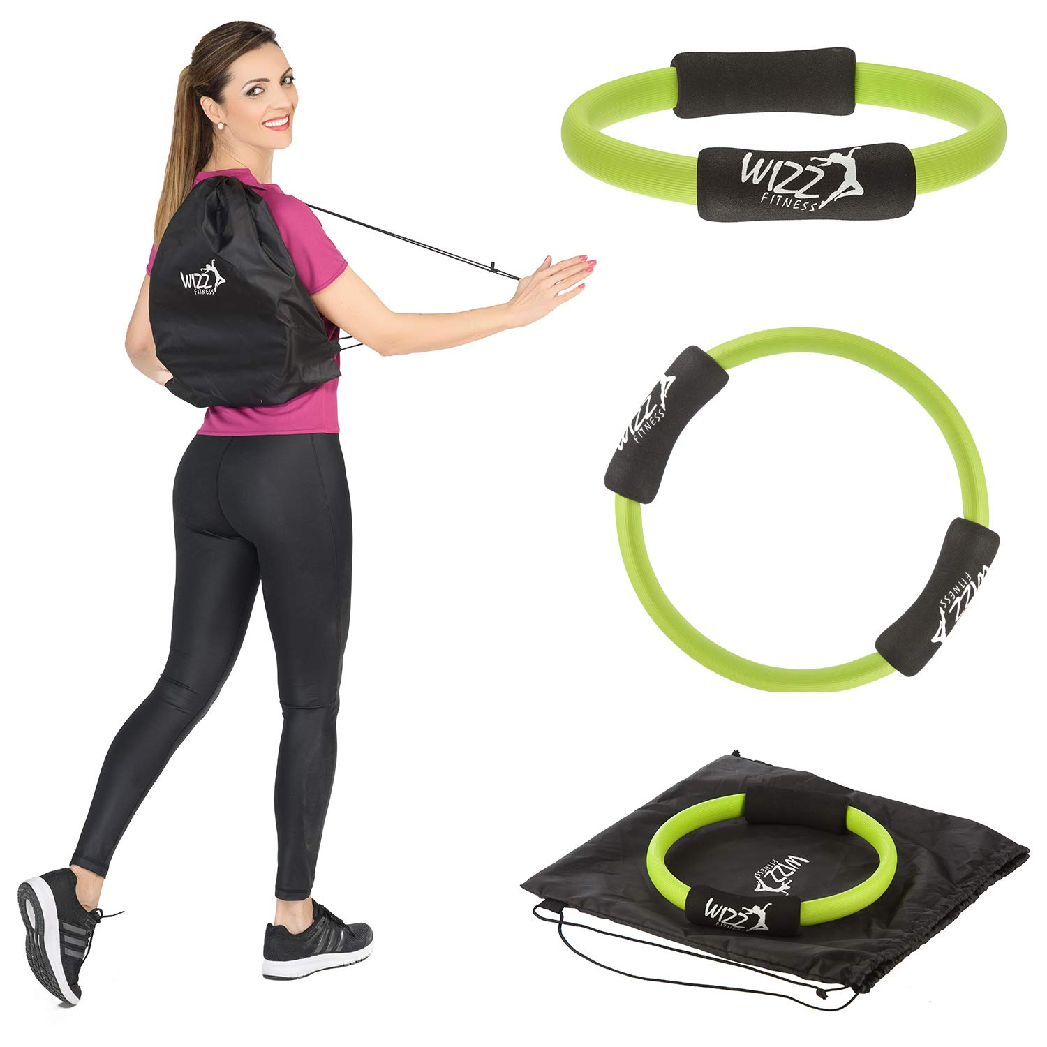 Wizz Fitness Pilates Ring 12 inch Pilates Magic Circle with Foam Handles & Carry Bag for Yoga, Pilates - Suitable for Both Beginners and Advanced - Lightweight and Resistant