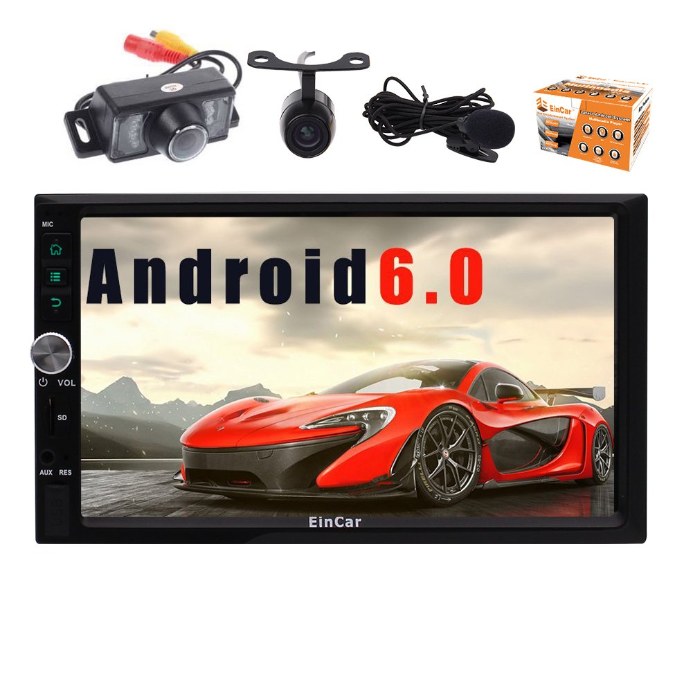 Eincar Android 6.0 Car Stereo 7 pouces Double Din Head Unit avec Quad-core Autoradio support GPS Sat Nav, Bluetooth, Phone Link, WiFi 3G / 4G, Radio RDS, Condition f¨¦minine Canada, GB USB SD, OBD, avant et sauvega