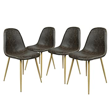 GreenForest Dining Side Chairs Washable Pu Cushion Seat Metal Legs for Dining  Room Chairs Set of. Amazon com   GreenForest Dining Side Chairs Washable Pu Cushion
