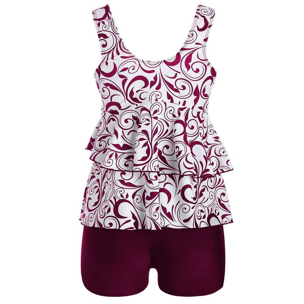 FINENICE Women Plus Size Swimwear Bikini Set Push-Up Padded Print Swimsuit Beachwear