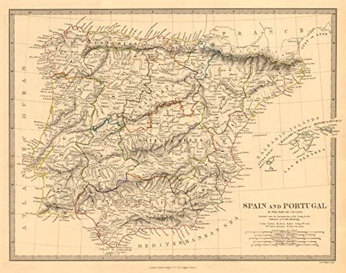 Iberia. España y Portugal Que Muestra las Provincias. sduk Old Map – diseño envejecido Vintage – 1845 Mapas de Iberia: Amazon.es: Hogar