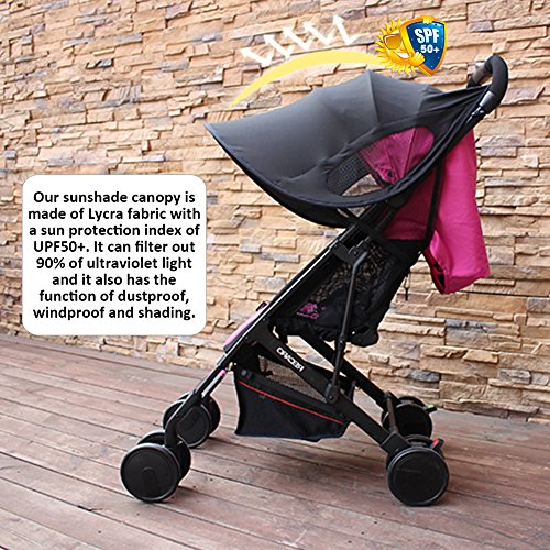 big-time Universal Canopy Baby Stroller Sunshade Cover BreathableLight-proofUPF 50+ UV Protection Stroller Cover for Baby Strollers (Black) by big-time (Image #5)
