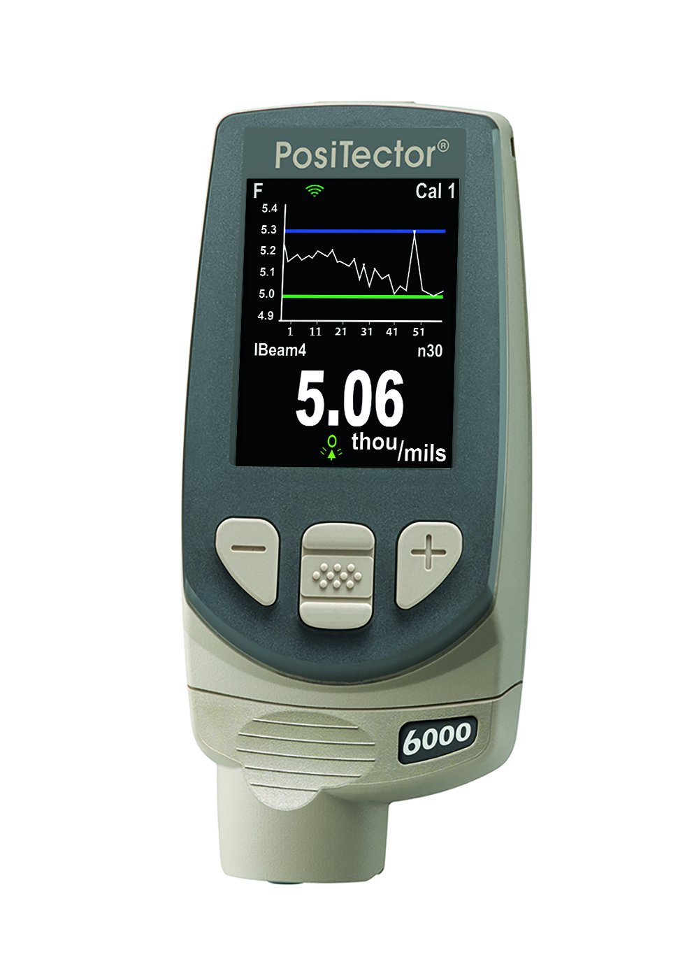 Defelsko FT1-E PosiTector 6000 Standard Electronic Coating Thickness Gage with Removable Built-In Probe for Ferrous Metals, 0-250 mils Range