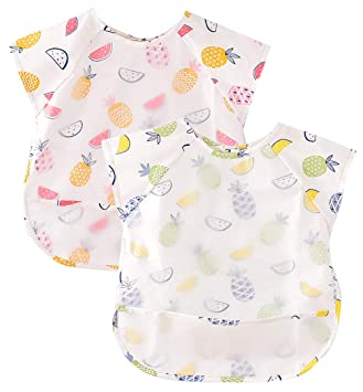 Happy Cherry Baby Apron Waterproof Full Coverage Bib Cartoon Long Sleeves Smock with Pocket