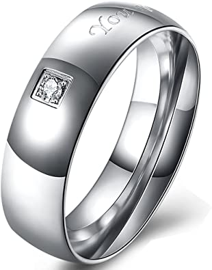 BEMI Romantic 925 Silver Plated Engraved LOVE ONLY YOU Polished Band Ring Luxury Zircon Rings for Couples