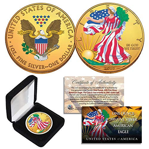 Combo 24K GOLD GILDED/COLOR 2019 American Silver Eagle 1 Oz .999 Coin w/Box