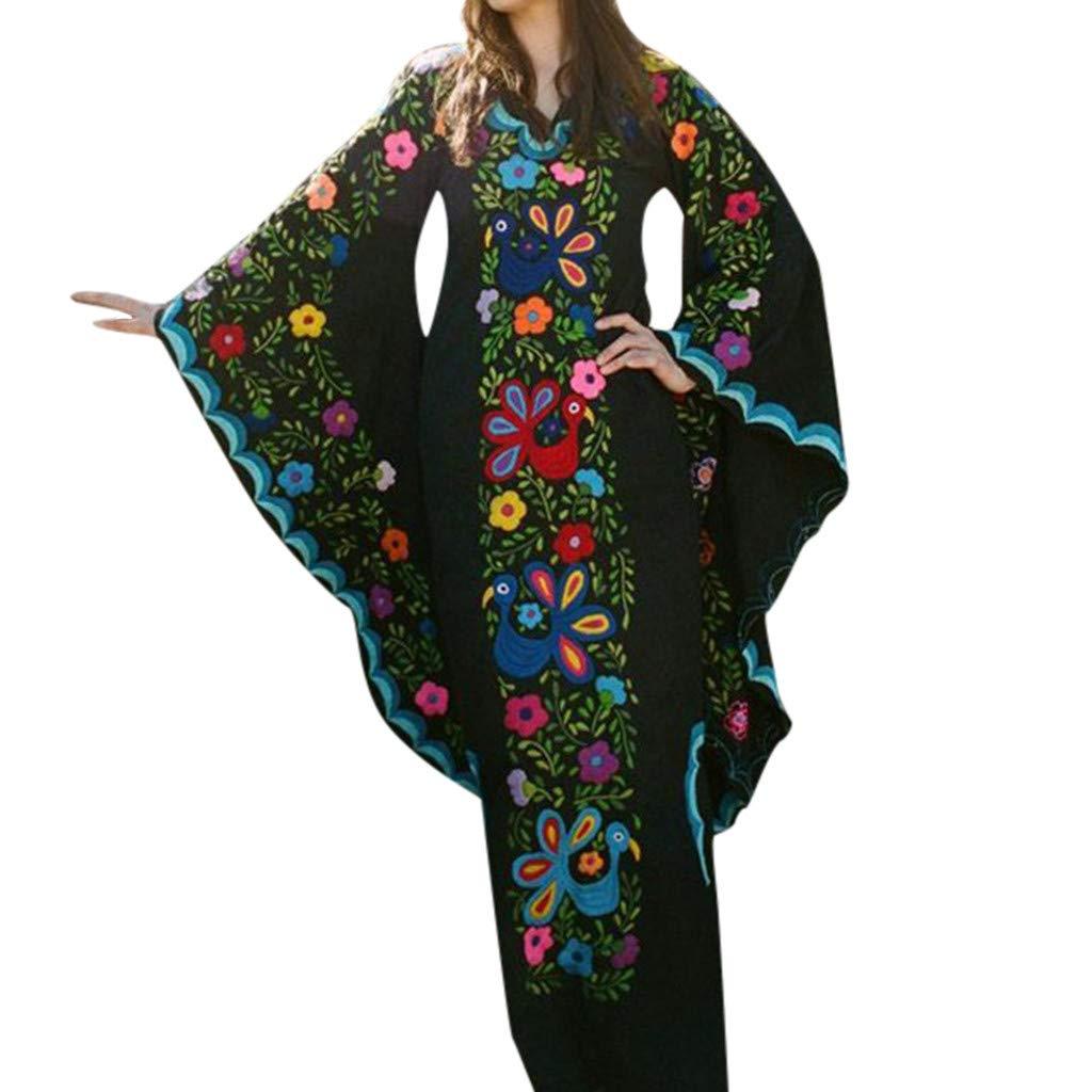 Nadition Ladies Bohemian Dress Women Vintage Ethnic Style Print Trumpet Sleeve Dress V-Neck Long Sleeve Maxi Dress Black