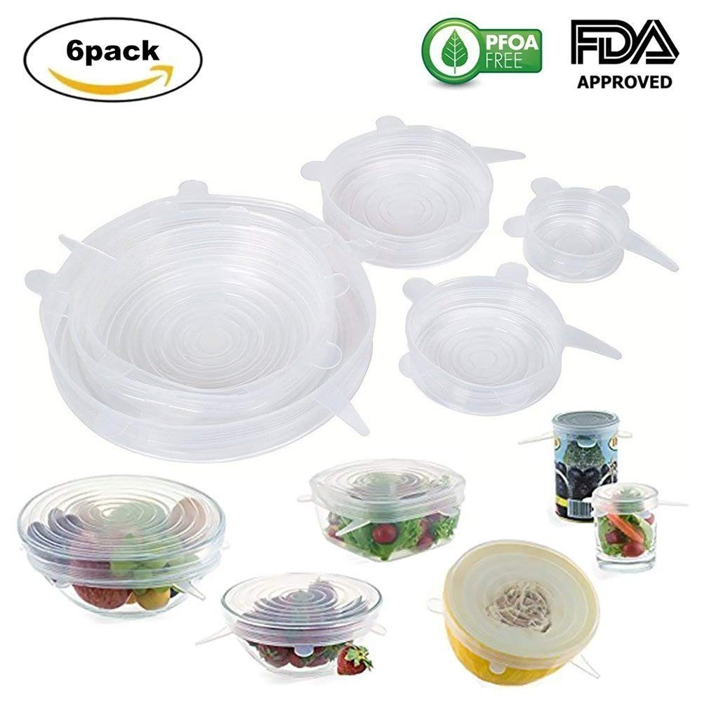 Silicone Stretch Lids丨BPA Free FDA Approved, Durable & Expandable & Reusable Food Saver Covers Bowl Covers for Platters, Jars, Freezer, Sealed, Salad丨6PCS for Various Sizes and Shapes of Container - MHBY (White) MHbaiyi