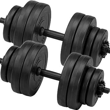 C.P. Sports Juego de pesas cortas, mancuernas de 30kg, 2barras